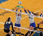 BROOKINGS, SD - OCTOBER 28:  Mattison Munger #7 and Ashlynn Smith #4 from South Dakota State try for a block against Megan Doran #14 from Oral Roberts Friday night at Frost Arena in Brookings. (Photo by Dave Eggen/Inertia)