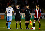 Billy Sharp of Sheffield Utd meets officials and captain of Coventry Jordan Willis during the English League One match at Bramall Lane Stadium, Sheffield. Picture date: April 5th 2017. Pic credit should read: Simon Bellis/Sportimage