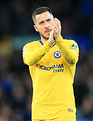 17th March 2019, Goodison Park, Liverpool, England; EPL Premier League Football, Everton versus Chelsea; Eden Hazard of Chelsea applauds the visiting fans after the final whistle