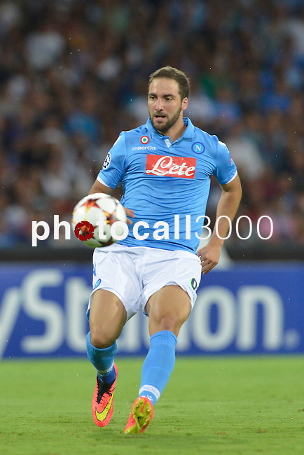 Gonzalo Higuain of Napoli during the match between SSC Napoli and Athletic Club Bilbao, play-offs First leg Champions League at the San Paolo Stadium onTuesday August 19, 2014 in Napoli, Italy. (Photo by Marco Iorio)<br />