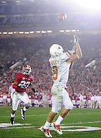 Jan 7, 2010; Pasadena, CA, USA; Texas Longhorns wide receiver Jordan Shipley (8) catches a pass for a touchdown during the fourth quarter of the 2010 BCS national championship game against the Alabama Crimson Tide at the Rose Bowl.  Mandatory Credit: Mark J. Rebilas-