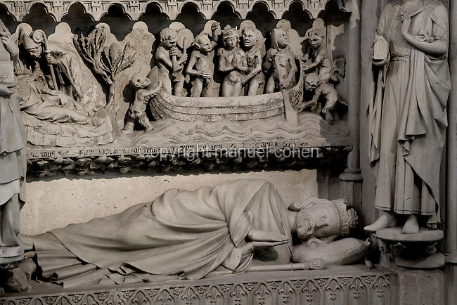 Gisant of Dagobert I (603 - 639), Funerary monument of Dagobert, stone, circa 1264, Abbey church of Saint Denis, Seine Saint Denis, France. Picture by Manuel Cohen