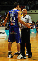 Referee Gavin Whiu lays down the law to Arthur Trousdell during game two of the NBL Final basketball match between the Wellington Saints and Waikato Pistons at TSB Bank Arena, Wellington, New Zealand on Friday 20 June 2008. Photo: Dave Lintott / lintottphoto.co.nz
