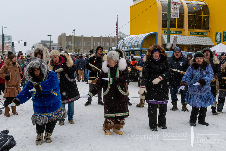 Kingikmiut Singers and Dancers from Whales, Alaska start off the festivities at 4th Avenue and D street in downtown Anchorage, Alaska on Saturday March 7th during the 2020 Iditarod race. Photo copyright by Cathy Hart Photography.com