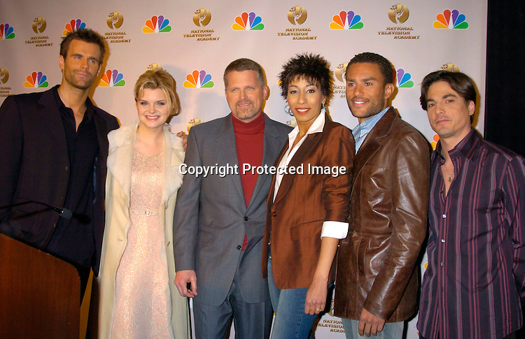 Cameron Mathison, Heather Tom, Robert Newman, Tamara Tunie, Charles Divins and Bryan Dattilo ..at the announcement of the Daytime Emmy Awards on March 4, 204 at the Rainbow Room. Photo by Robin Platzer, Twin Images.