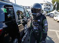 Nov 10, 2017; Pomona, CA, USA; NHRA funny car driver Alexis DeJoria during qualifying for the Auto Club Finals at Auto Club Raceway at Pomona. Mandatory Credit: Mark J. Rebilas-USA TODAY Sports