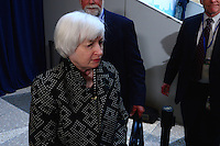Washington, DC - April 15, 2016: Janet Yellen, Chair of the Board of Governors, U.S. Federal Reserve Bank, leaves the atrium of the IMF HQ2 building after posing for a group photo with members of the G20 finance ministers and central bank governors during the IMF/World Bank Spring Meetings, April 15, 2016.  (Photo by Don Baxter/Media Images International)