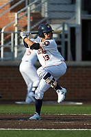 Kristian Trompiz (13) of the Buies Creek Astros at bat against the Frederick Keys at Jim Perry Stadium on April 28, 2018 in Buies Creek, North Carolina. The Astros defeated the Keys 9-4.  (Brian Westerholt/Four Seam Images)