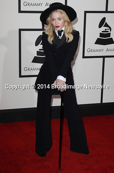 Pictured: Madonna<br /> Mandatory Credit &copy; Frederick Taylor/Broadimage<br /> 56th Annual Grammy Awards - Red Carpet<br /> <br /> 1/26/14, Los Angeles, California, United States of America<br /> <br /> Broadimage Newswire<br /> Los Angeles 1+  (310) 301-1027<br /> New York      1+  (646) 827-9134<br /> sales@broadimage.com<br /> http://www.broadimage.com