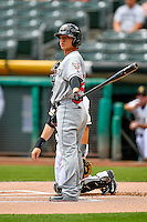 Luis Urias (28) of the El Paso Chihuahuas at bat against the Salt Lake Bees in Pacific Coast League action at Smith's Ballpark on July 10, 2016 in Salt Lake City, Utah. El Paso defeated Salt Lake 11-2. (Stephen Smith/Four Seam Images)