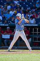 North Carolina Tar Heels third baseman Colin Moran #18 bats during Game 3 of the 2013 Men's College World Series between the North Carolina State Wolfpack and North Carolina Tar Heels at TD Ameritrade Park on June 16, 2013 in Omaha, Nebraska. The Wolfpack defeated the Tar Heels 8-1. (Brace Hemmelgarn/Four Seam Images)