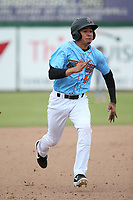 Franklin Torres (46) of the Inland Empire 66ers runs the bases during a game against the Stockton Ports at San Manuel Stadium on May 26, 2019 in San Bernardino, California. (Larry Goren/Four Seam Images)
