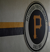 Pittsburgh Pirates logo during a spring training game against the Minnesota Twins at McKechnie Field on March 10, 2012 in Bradenton, Florida.  Minnesota defeated Pittsburgh 4-2.  (Mike Janes/Four Seam Images)