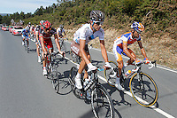 Alberto Losada (katusha Team), Javi Moreno (movistar Team), Ben Gastauer and Blel Kadri (Ag2r), Adrian Palomares (Andalucia), Alessandro Ballan (BMC), David Moncoutie and Rudy Molard (Cofidis) Amets Txurruka (Euskaltel-Euskadi), Maciej Paterski (Liquigas_Cannondale), Dario Cataldo and Serge Pauwels (Omega Phar,a-QuickStep), Simon Clarke (Orica-GreenEdge), Juanma Garate (Rabobank) and Jan Bakelants and Laurent Didier (RadioShack-Nissan) escapees during the stage of La Vuelta 2012 between Palas de Rei and Puerto de Ancares.September 1,2012. (ALTERPHOTOS/Paola Otero) NortePhoto.com<br /> <br /> **CREDITO*OBLIGATORIO** <br /> *No*Venta*A*Terceros*<br /> *No*Sale*So*third*<br /> *** No*Se*Permite*Hacer*Archivo**<br /> *No*Sale*So*third*