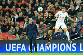1st November 2017, Wembley Stadium, London, England; UEFA Champions League, Tottenham Hotspur versus Real Madrid; Kieran Trippier of Tottenham Hotspur battles to win a header against Marcelo of Real Madrid as Real Madrid Manager Zinedine Zidane watches from the touch line