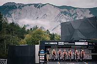 Team Boels-Dolmans on the start ramp<br /> <br /> UCI WOMEN'S TEAM TIME TRIAL<br /> Ötztal to Innsbruck: 54.5 km<br /> <br /> UCI 2018 Road World Championships<br /> Innsbruck - Tirol / Austria