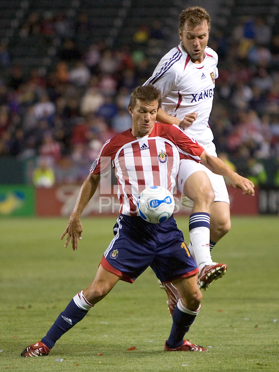 RSL MID Jessie Marsh (15) defends the ball against RSL MID Carey Talley (3) during a MLS game. Chivas USA DEF Lawson Vaughn (25) during a MLS game. Chivas USA beat Real Salt Lake 4-0 at the Home Depot Center in Carson, California, Saturday, April 21, 2007.