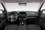 Stock photo of straight dashboard view of 2020 KIA e-Soul Premium 5 Door SUV Dashboard