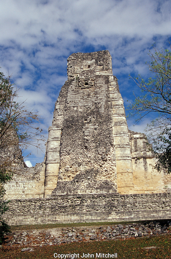 The central tower of Structure 1 at the Mayan ruins of Xpujil, Campeche, Mexico. This complex is an example of the Rio Bec style of ancient Mayan architecture.