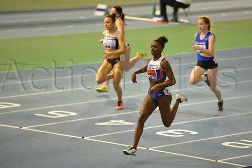 27.02.2016. EIS Sheffield, Sheffield, England. British Indoor Athletics Championships Day One. Dina Asher-Smith wins her heat of the 60m.