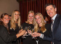 Arena Loire,  Tr&eacute;laz&eacute;,  France, 14 April, 2016, Semifinal FedCup, France-Netherlands, Official Diner,  Dutch team make a toast, Ltr: Cindy Burger, Arantxa Rus, Kiki Bertens, Richel Hogenkamp and capitain Paul Haarhuis<br /> Photo: Henk Koster/Tennisimages