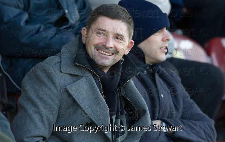 Former Morton manager Allan Moore who is in the frame to take over the manager's position at Stenhousemuir takes his seat in the stand at Ochilview Park to watch Stenny take on East Fife.<br /> <br /> <br /> 15/02/2014   jspa024_smuir_v_efife     <br /> Copyright  Pic : James Stewart   <br /> <br /> James Stewart Photography 19 Carronlea Drive, Falkirk. FK2 8DN      Vat Reg No. 607 6932 25   Tel:  +44 (0)7721 416997<br /> E-mail  :  jim@jspa.co.uk   If you require further information then contact Jim Stewart on any of the numbers above........