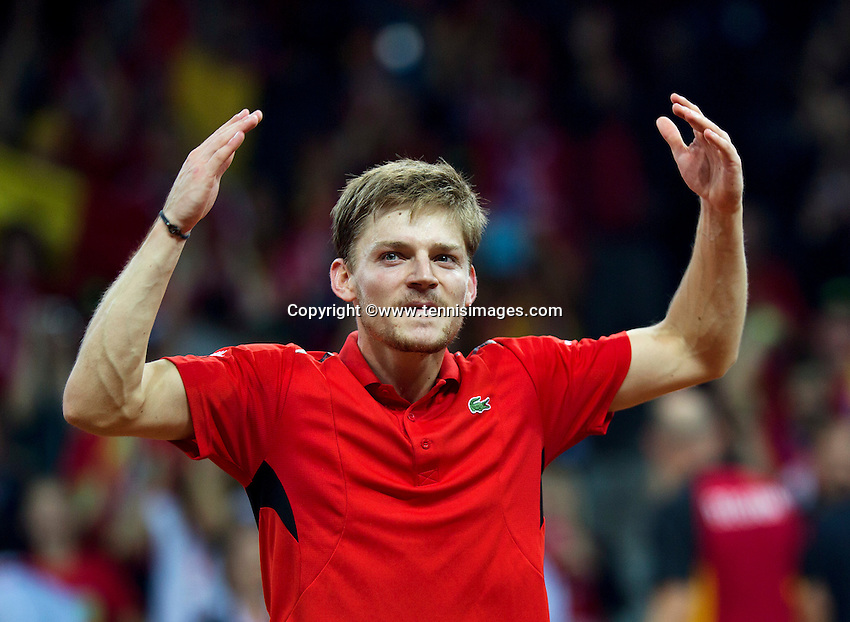 Gent, Belgium, November 27, 2015, Davis Cup Final, Belgium-Great Britain, First match, David Goffin (BEL) jubilates after scoring the first point , Belgium leads 1-0<br /> © Henk Koster/Alamy Live News