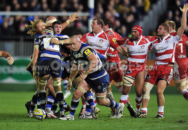 Carl Fearns looks to pounce on loose ball after Bath dominate a scrum. Aviva Premiership match, between Bath Rugby and Gloucester Rugby on October 25, 2013 at the Recreation Ground in Bath, England. Photo by: Patrick Khachfe / Onside Images