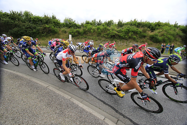 Riders including Marcus Burghardt (GER) BMC Racing Team and Mathias Frank (SUI) IAM Cycling pass through Segre during Stage 3 of the 2016 Tour de France, running 223.5km from Granville to Angers, France . 4th July 2016.<br /> Picture: Eoin Clarke | Newsfile<br /> <br /> <br /> All photos usage must carry mandatory copyright credit (&copy; Newsfile | Eoin Clarke)