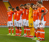 Blackpool players observe the minutes silence<br /> <br /> Photographer Alex Dodd/CameraSport<br /> <br /> The EFL Sky Bet League One - Blackpool v Portsmouth - Saturday 11th November 2017 - Bloomfield Road - Blackpool<br /> <br /> World Copyright &copy; 2017 CameraSport. All rights reserved. 43 Linden Ave. Countesthorpe. Leicester. England. LE8 5PG - Tel: +44 (0) 116 277 4147 - admin@camerasport.com - www.camerasport.com