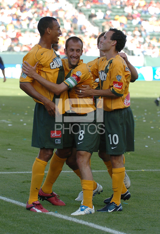 Tyrone Marshall, left, Peter Vagenas, middle, Landon Donovan, right, L.A. Galaxy vs Colorado Rapids, L.A. won 3-2.