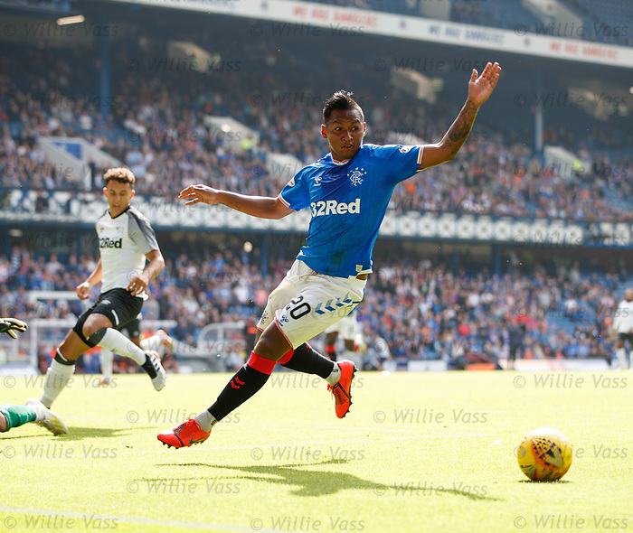 28.07.2019 Rangers v Derby County: Alfredo Morelos has a shot saved by Kelle Roos