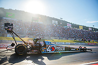 Jul 19, 2019; Morrison, CO, USA; NHRA top fuel driver Antron Brown during qualifying for the Mile High Nationals at Bandimere Speedway. Mandatory Credit: Mark J. Rebilas-USA TODAY Sports