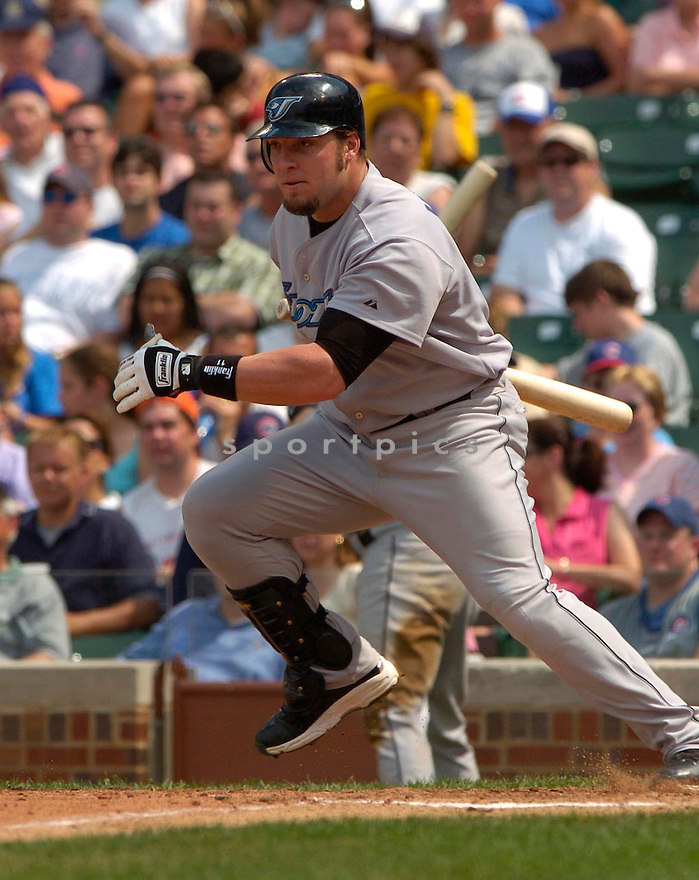 Eric Hinske of the Toronto Blue Jays in action against the Chicago Cubs. ....Blue Jays lost 0-2.....David Durochik / SportPics..