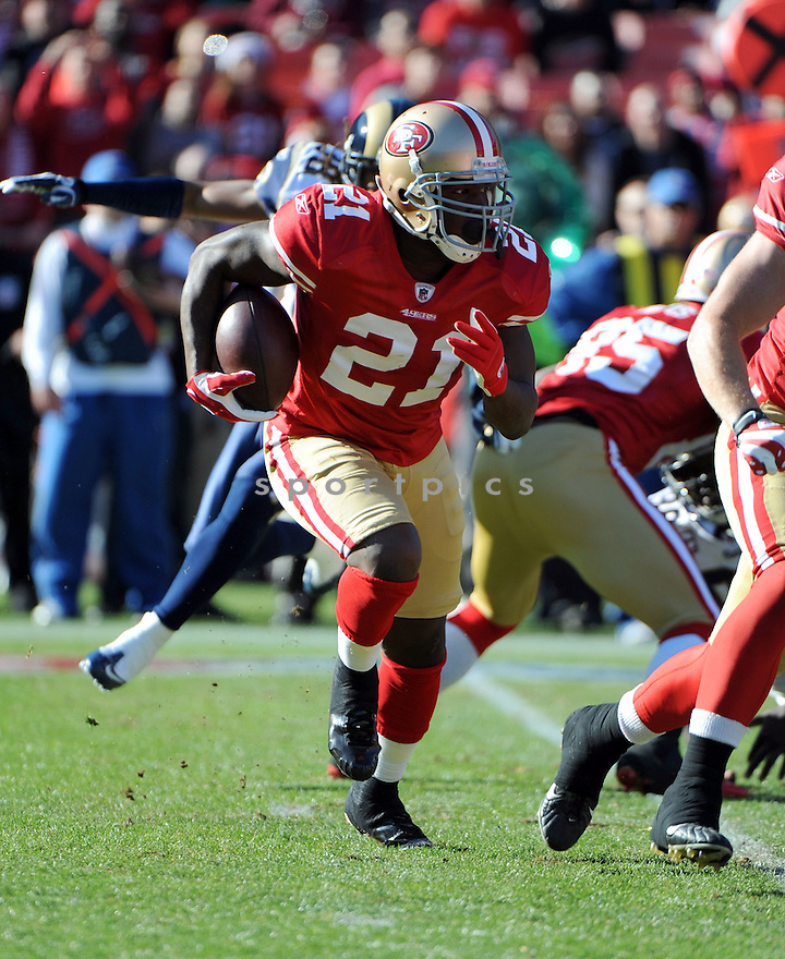 FRANK GORE, of the San Francisco 49ers, in action during the 49ers game against the St. Louis Rams on December 4, 2011 at Candlestick Park in San Francisco, CA. The 49ers beat the Rams 26-0.
