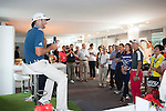 Dustin Johnson from USA answers questions and poses for photographs with fans during Hong Kong Open golf tournament at the Fanling golf course on 22 October 2015 in Hong Kong, China. Photo by Xaume Olleros / Power Sport Images