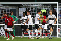 Robert Atkinson (far right) celebrates scoring Fulham U23's second goal with Aron Davies during Fulham Under-23 vs Manchester United Under-23, Premier League 2 Football at Motspur Park on 10th August 2018
