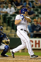 Round Rock Express outfielder Brad Nelson at bat against the Omaha Storm Chasers in Pacific Coast League baseball on Monday April 11th, 2011 at Dell Diamond in Round Rock Texas.  (Photo by Andrew Woolley / Four Seam Images)