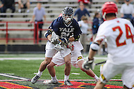 College Park, MD - February 25, 2017: Yale Bulldogs Conor Mackie (21) wins the faceoff during game between Yale and Maryland at  Capital One Field at Maryland Stadium in College Park, MD.  (Photo by Elliott Brown/Media Images International)
