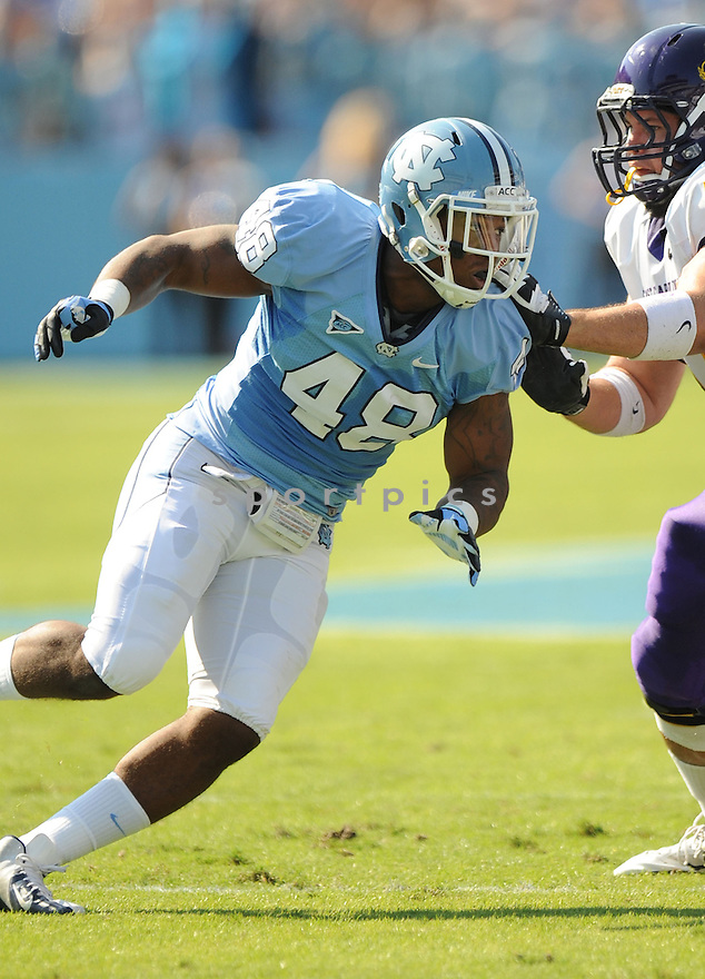 North Carolina Tarheels Kevin Reddick (48) in action during a game against East Carolina on September 22, 2012 at Kenan Memorial Stadium in Chapel Hill, NC. North Carolina beat ECU 27-6.