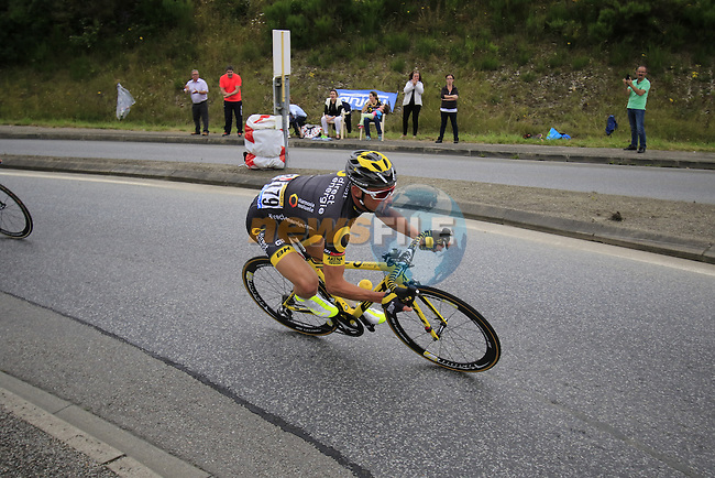 Breakaway rider Thomas Voeckler (FRA) Direct Energie flies through Segre during Stage 3 of the 2016 Tour de France, running 223.5km from Granville to Angers, France . 4th July 2016.<br /> Picture: Eoin Clarke | Newsfile<br /> <br /> <br /> All photos usage must carry mandatory copyright credit (&copy; Newsfile | Eoin Clarke)