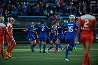 Seattle, WA - Saturday April 22, 2017: Jess Fishlock and team celebrate during a regular season National Women's Soccer League (NWSL) match between the Seattle Reign FC and the Houston Dash at Memorial Stadium.