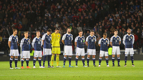 29.03.2016. Hampden Park, Glasgow, Scotland. International Football Friendly Scotland versus Denmark.  Scotland players observing the minutes silence