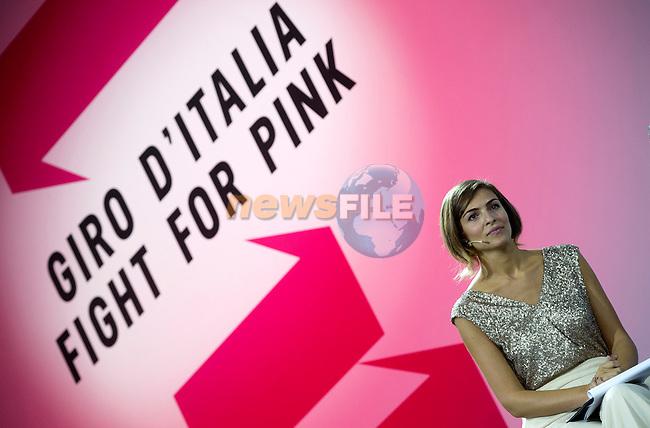 Italian showgirl, Cristina Chiabotto, hosts the Giro d'Italia 2016 Presentation held at Expo Milano, Milan, Italy. 5th October 2015.<br /> Picture: ANSA/Claudio Peri | Newsfile