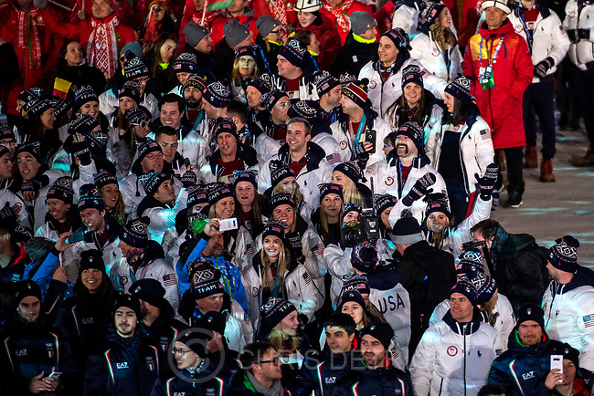 (Chris Detrick  |  The Salt Lake Tribune)  Athletes from The United States of America are introduced during the PyeongChang 2018 Olympic Winter Games Closing Ceremony at Olympic Stadium Sunday, Feb. 25, 2018.