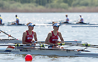 Brandenburg. GERMANY. NED LW2X. Bow, Lise PAULIS and Maaike HEAD, at the start of their heat. <br /> 2016 European Rowing Championships at the Regattastrecke Beetzsee<br /> <br /> Friday  06/05/2016<br /> <br /> [Mandatory Credit; Peter SPURRIER/Intersport-images]