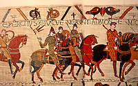 Visual Arts:  Bayeaux Tapestry #1. William leads his army against Duke Conan of Brittany.  William carries a mace, symbol of authority, but wears no armor, only a quilted tunic. Embroidered cloth 230 ft. long with 50 scenes depicting the Norman Conquest.