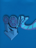 Film projector in paper art