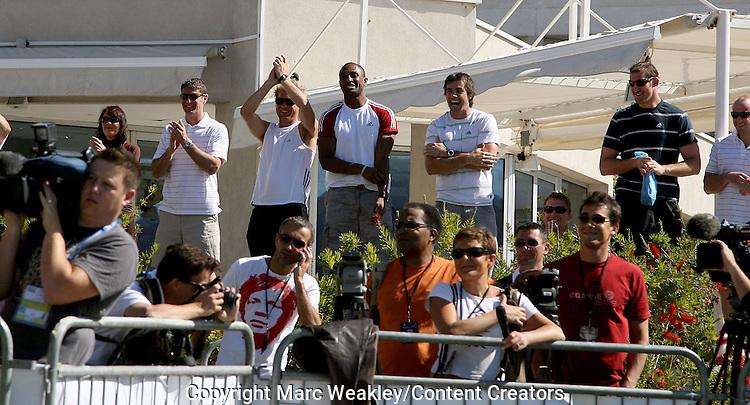 The All Blacks gallery watch their teammates with Zinedine Zidane, Marseille, 06 September 2007.