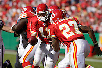 Chiefs quarterback Damon Huard hands off to running back Larry Johnson during the game against the Seattle Seahawks at Arrowhead Stadium  in Kansas City, Missouri on October 29, 2006. The Chiefs won 35-28.